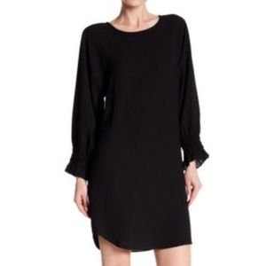 Nine West Black Long Sleeve Crepe Shift Dress